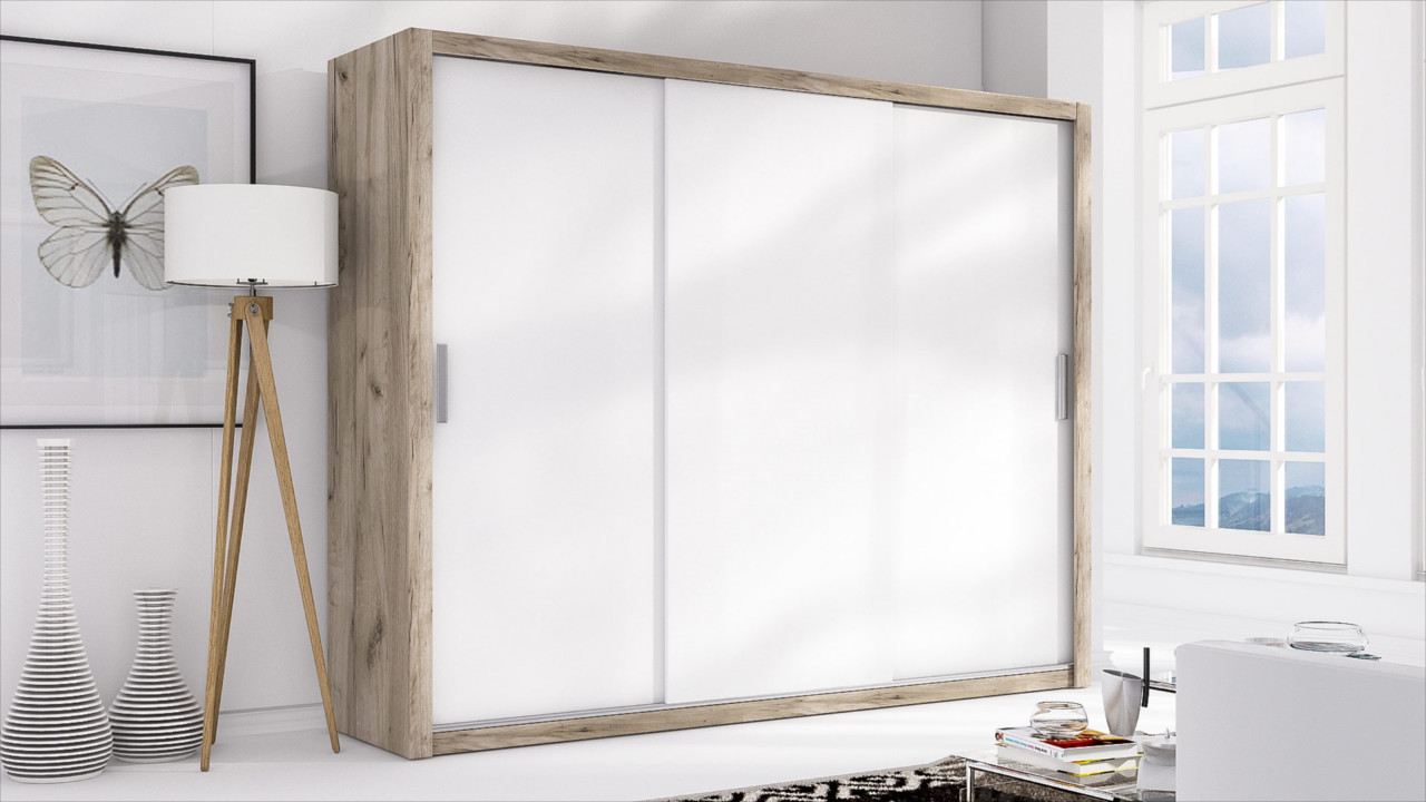 Sliding Door Wardrobe LONDON 250 san remo / white matt