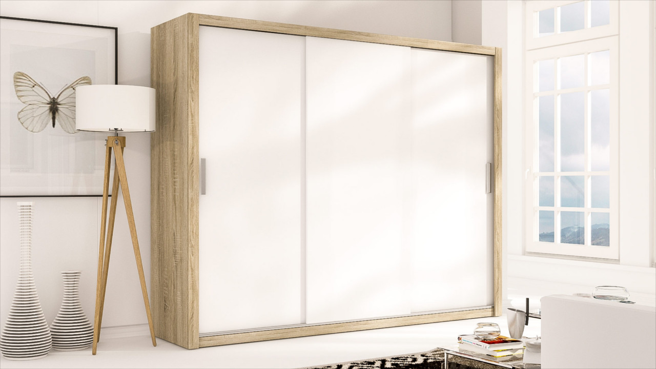 Sliding Door Wardrobe LONDON 250 sonoma / white matt