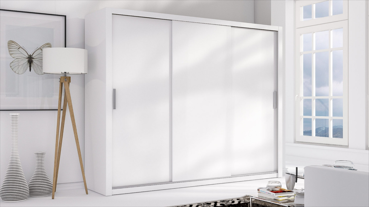 Sliding Door Wardrobe LONDON 250 white / white matt